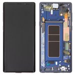 LCD compatible with Samsung N960Galaxy Note 9, (dark blue, with touchscreen, with frame, Original (PRC), ocean Blue, original glass)