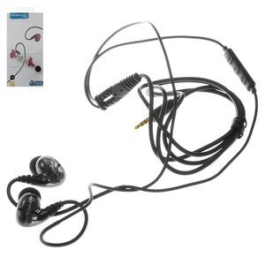 Headphone Konfulon IN19, (vacuum, black, TRRS 3.5 mm)