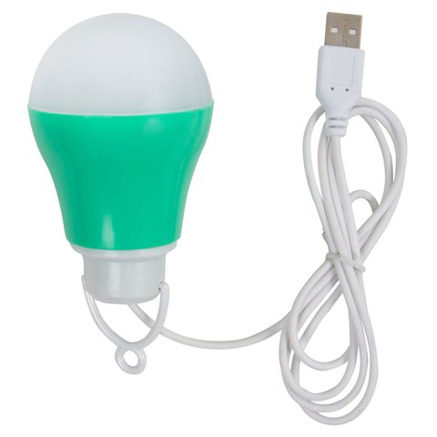 USB LED світильник 5 Вт холодний білий, корпус зелений, 5 В, 450 лм