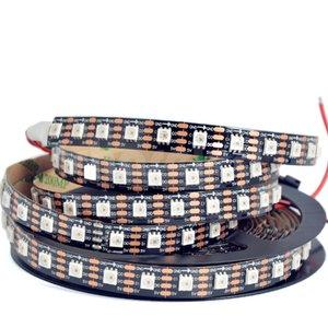 Світлодіодна стрічка RGB SMD5050, SK9822 (чорна, з управлінням, IP20, 5 В, 60 діодів/м, 5 м)